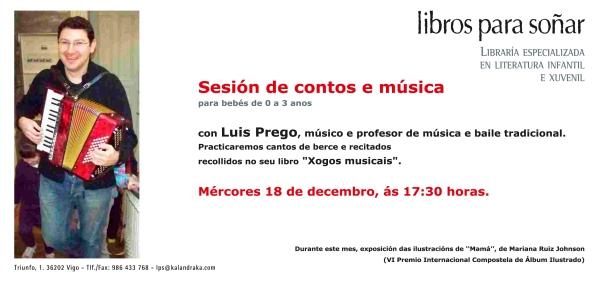 Mércores 18 ás 17:30h, sesión para bebés con Luis Prego en LPS.
