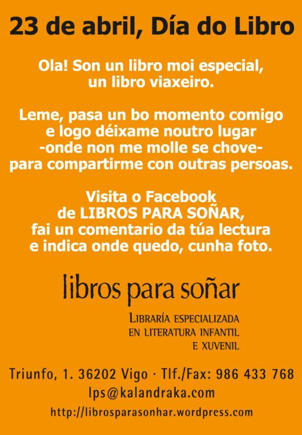 Etiqueta que identifica os libros liberados, coas instruccións para participar no 'bookcrossing'.