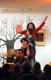 A familia Rivas, na sesión de contacontos do 14º aniversario de LIBROS PARA SOÑAR.