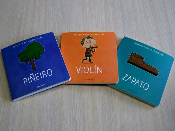 """""""Piñeiro"""", """"Violín"""" e """"Zapato"""", novos títulos da colección 'Do berce á lúa'."""