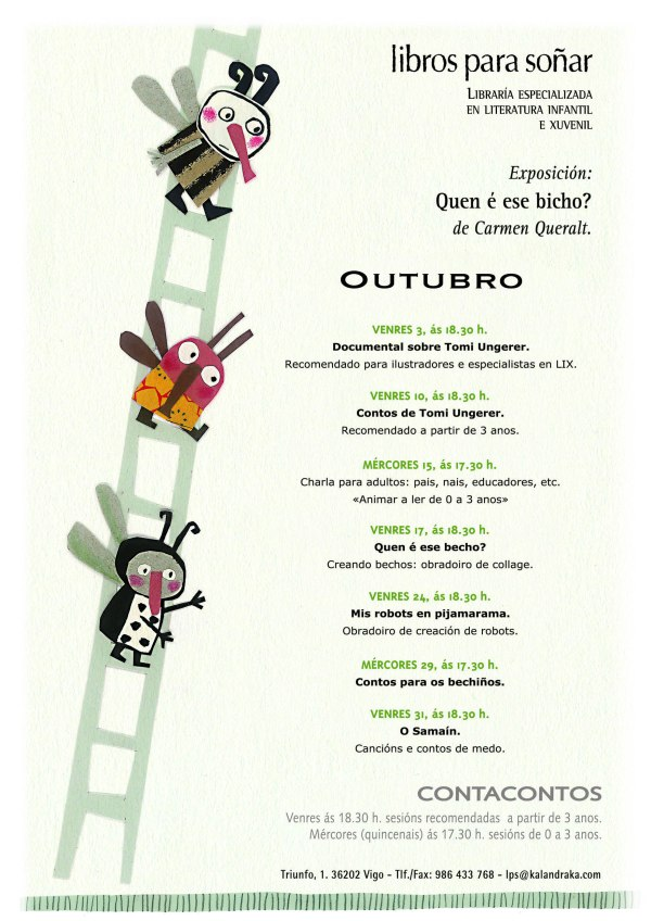 Programa de actividades para público infantil e adulto en LIBROS PARA SOÑAR no mes de outubro.