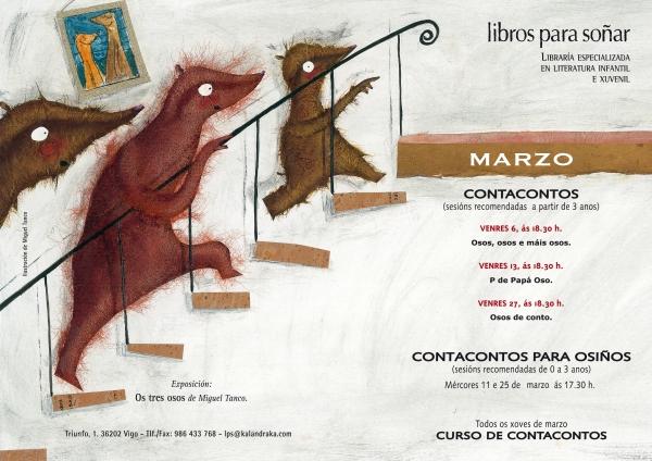 Axenda de actividades de Libros para Soñar en marzo.