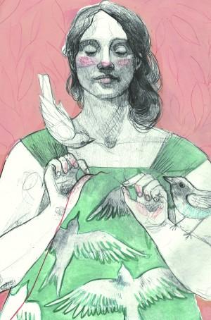 """Ilustración de Elizabeth Builes para """"Arroz con leche"""" (Kalandraka)"""